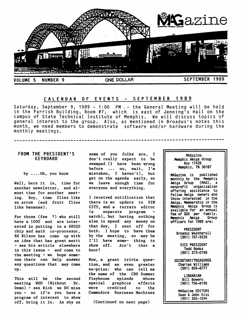 September 1989 MAGazine Page 1