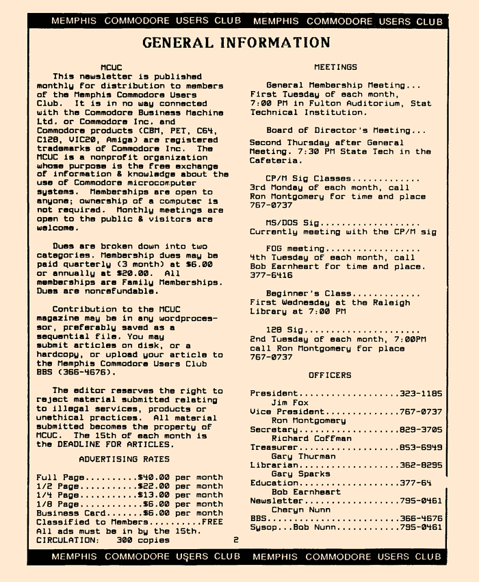 August 1988 MCU Magazine Page 2